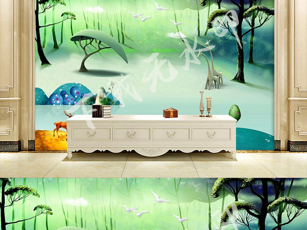 手绘欧式时尚3d立体森林电视背景墙风景画