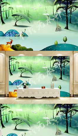 手绘欧式时尚3D立体森林电视背景墙风景画-PSD花乐 PSD格式花乐素