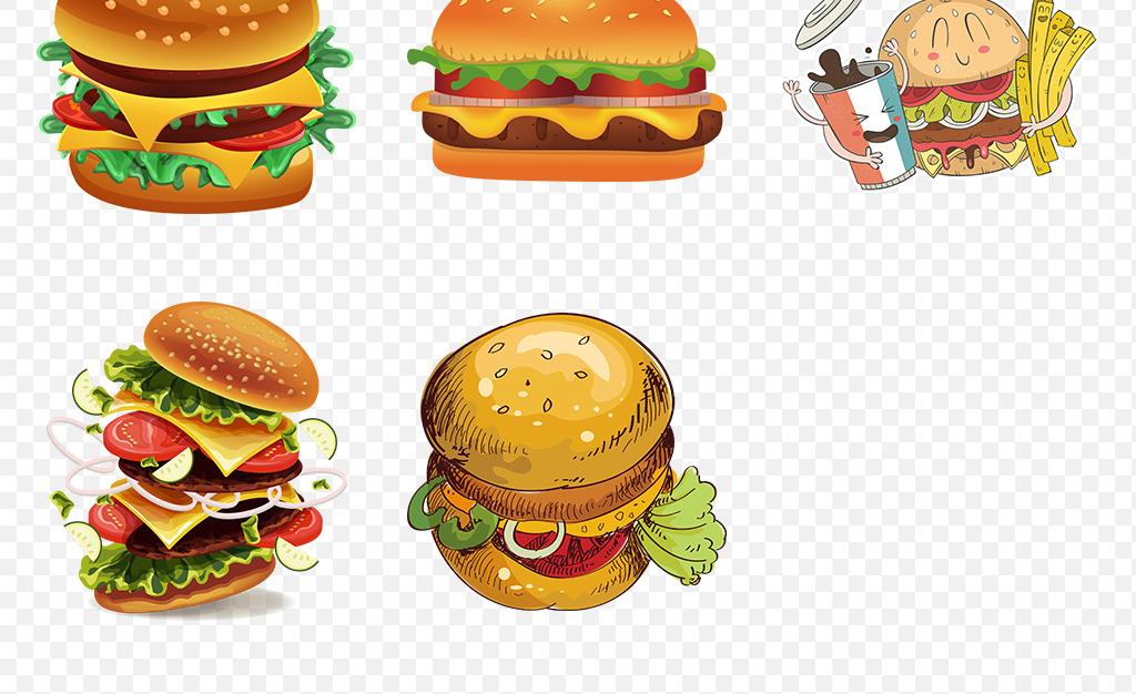 手绘麦当劳肯德基汉堡插图海报素材背景图片png