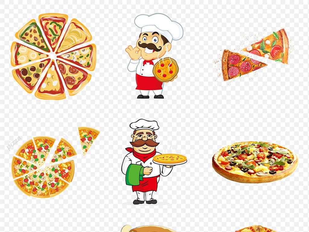 手绘美食美味披萨匹萨海报素材背景图片png