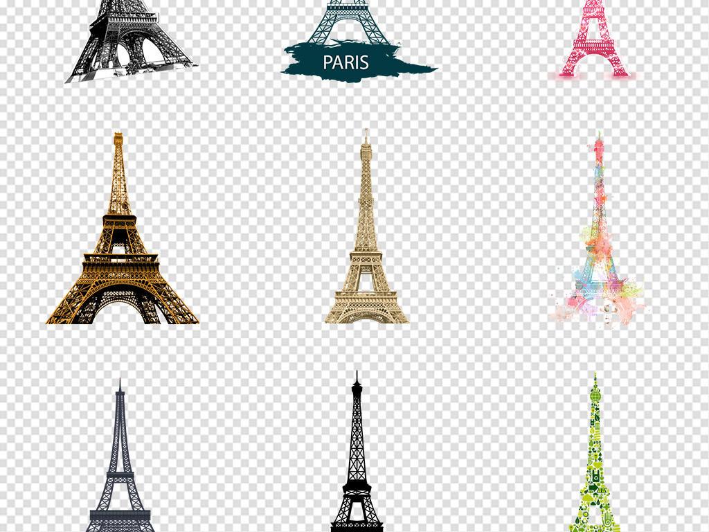 手绘埃菲尔铁塔巴黎铁塔png免抠素材