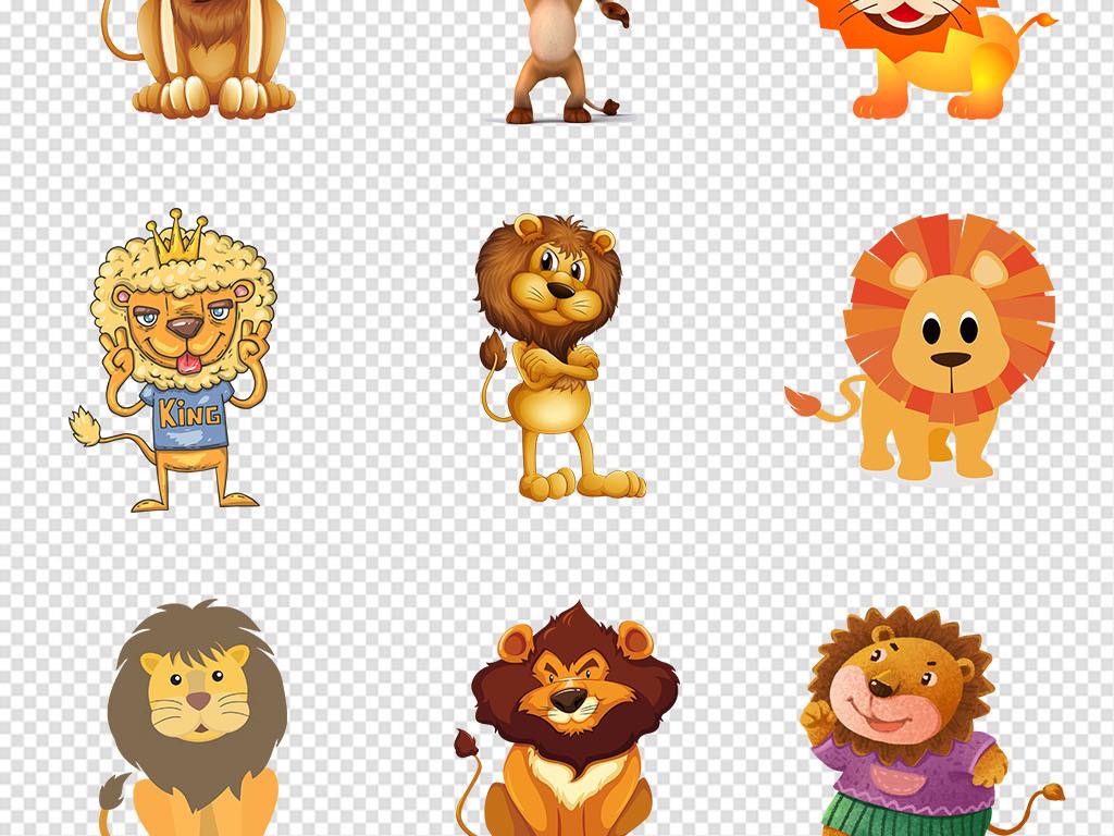 手绘卡通动物卡通背景动物素材可爱狮子png透明背景透明背景可爱卡通p