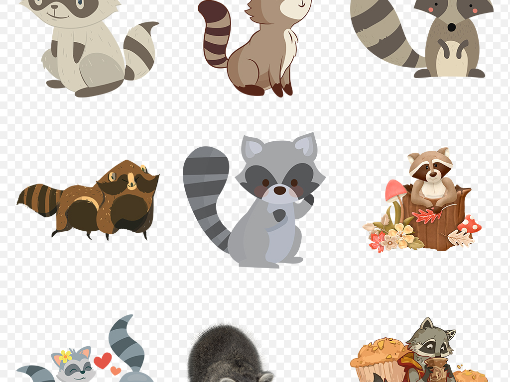 卡通手绘浣熊动物海报素材背景图片png
