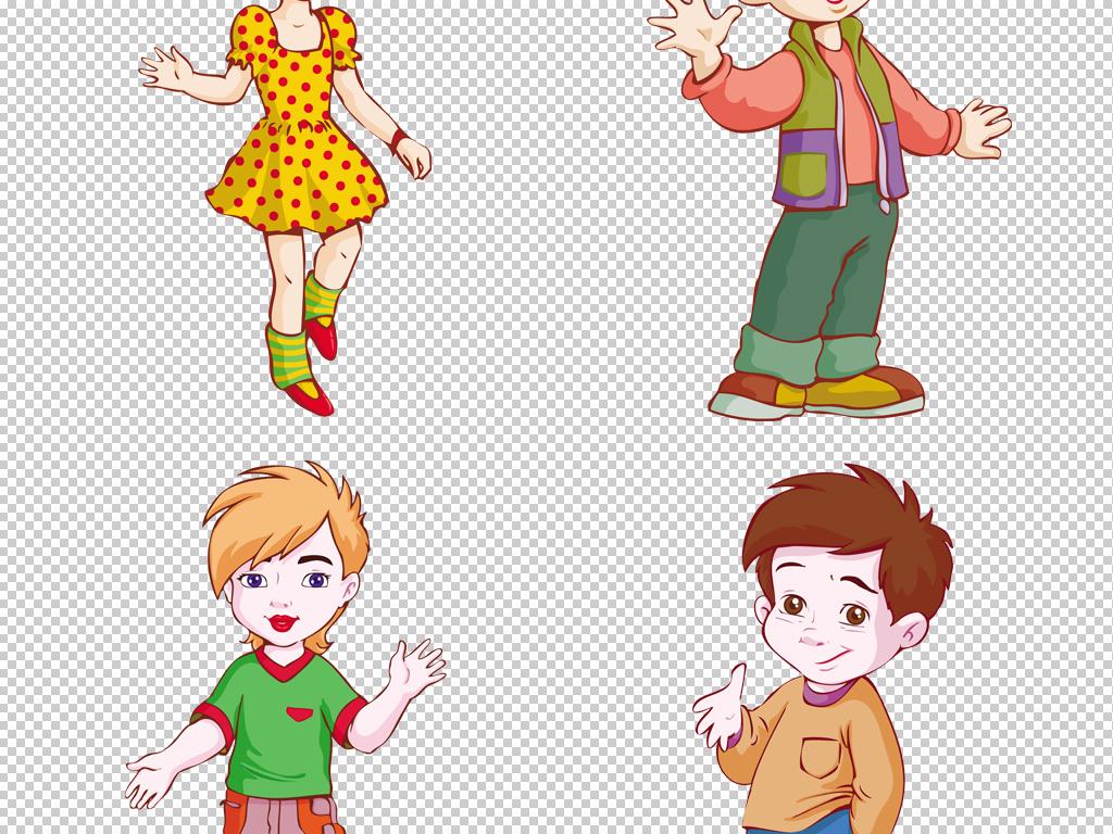 卡通彩绘女孩男孩png素材可爱手绘儿童