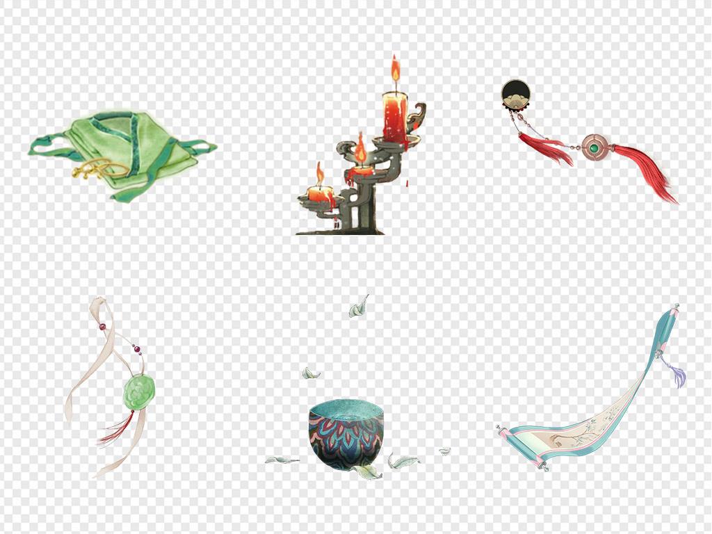 50款中国风中式复古游戏道具物品png素材