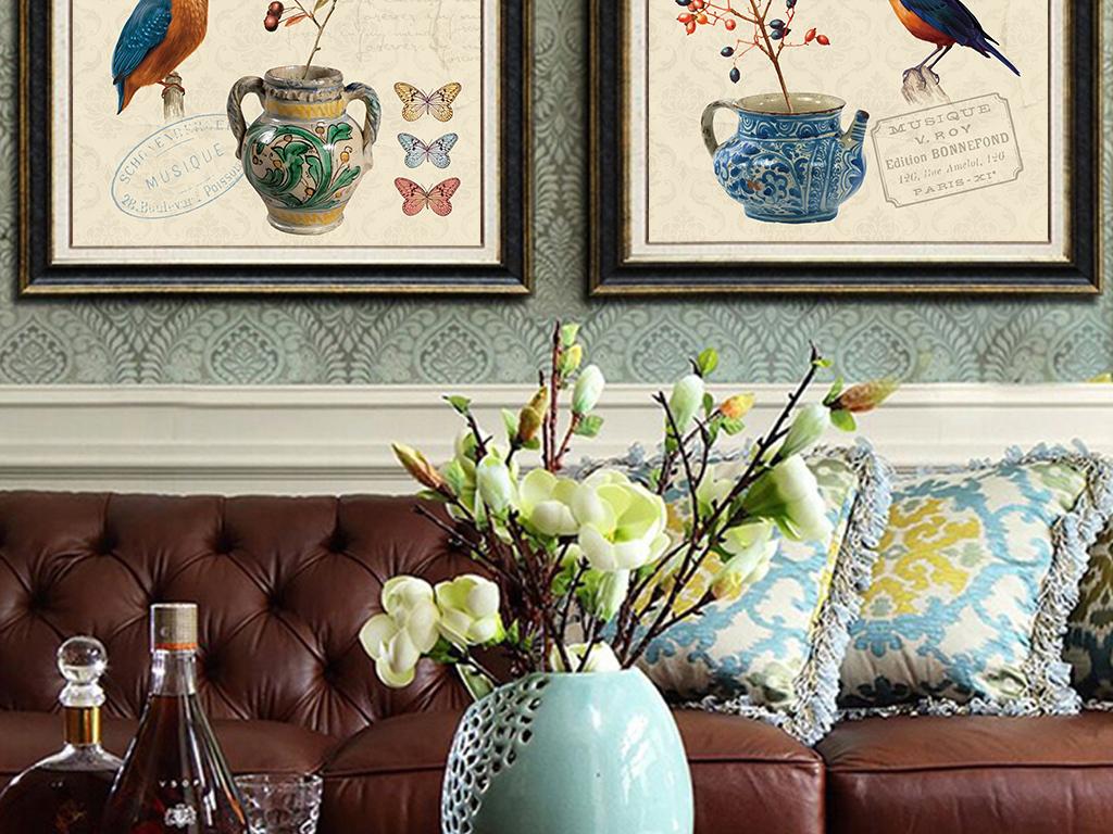 手绘欧式复古花鸟花瓶客厅装饰画