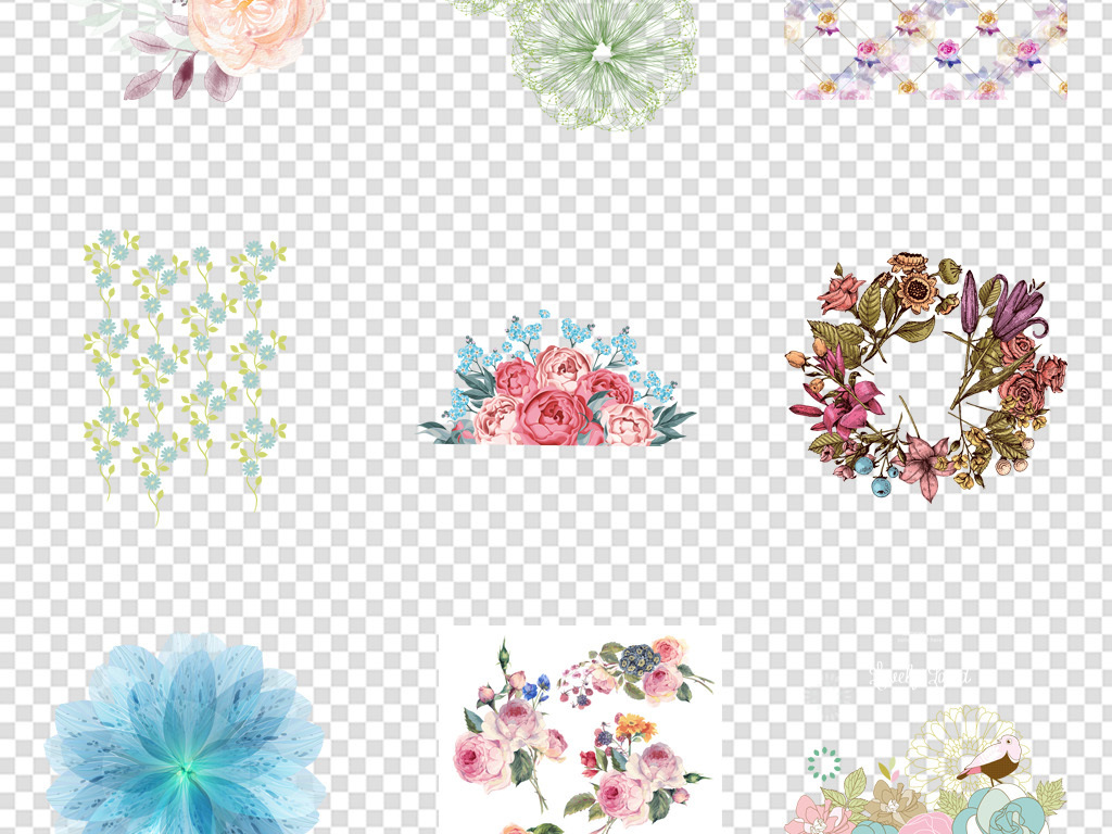 唯美ai矢量北欧手绘水彩花卉花朵绿叶背景元素