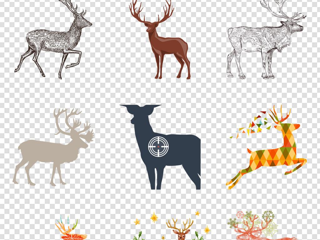 手绘水彩ai矢量鹿头麋鹿装饰画鹿角元素