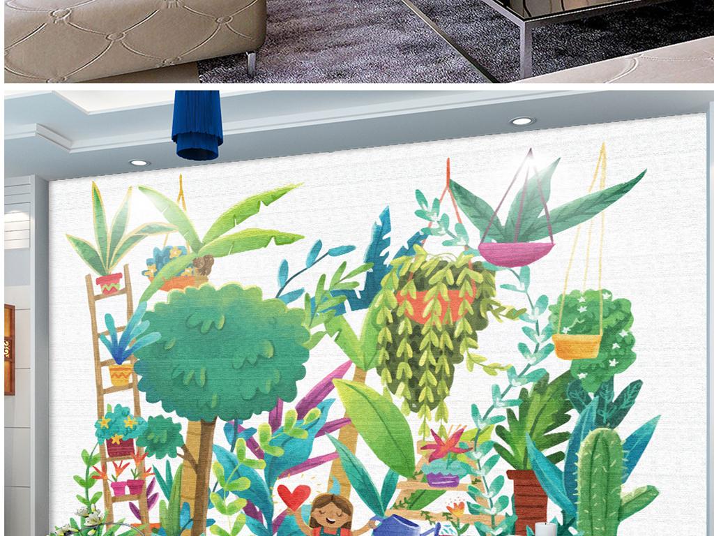 手绘植物园小孩水彩