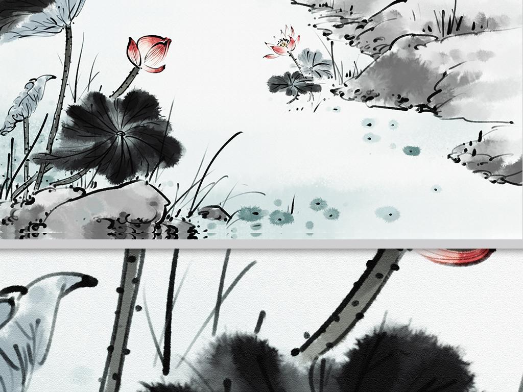 新中式手绘荷韵沙发电视背景墙荷花装饰画