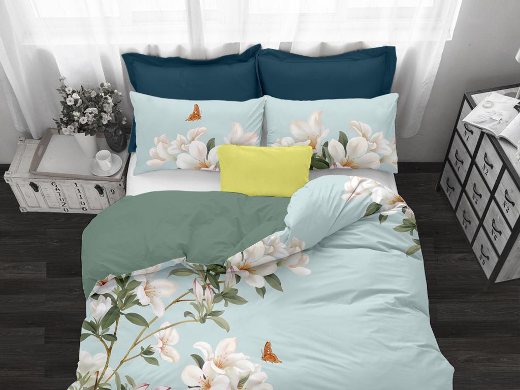 蓝色时尚花卉蝴蝶家纺床品花型设计稿