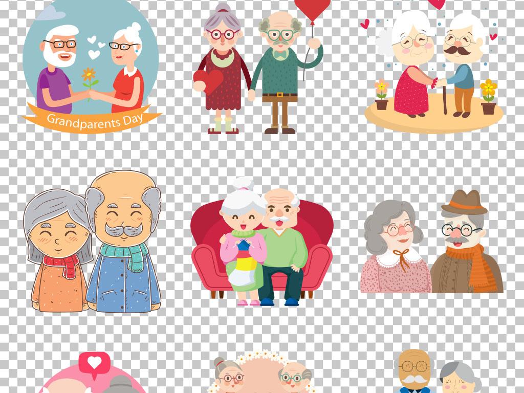 手绘卡通老年人爱情婚姻纪念免抠png素材