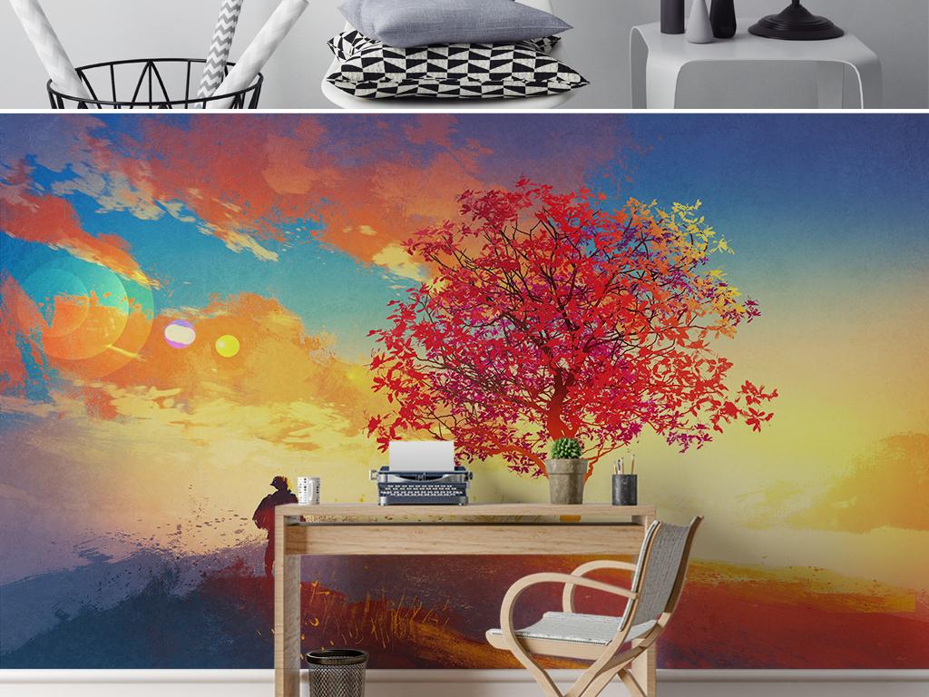 大树夕阳风景人物油画装饰画