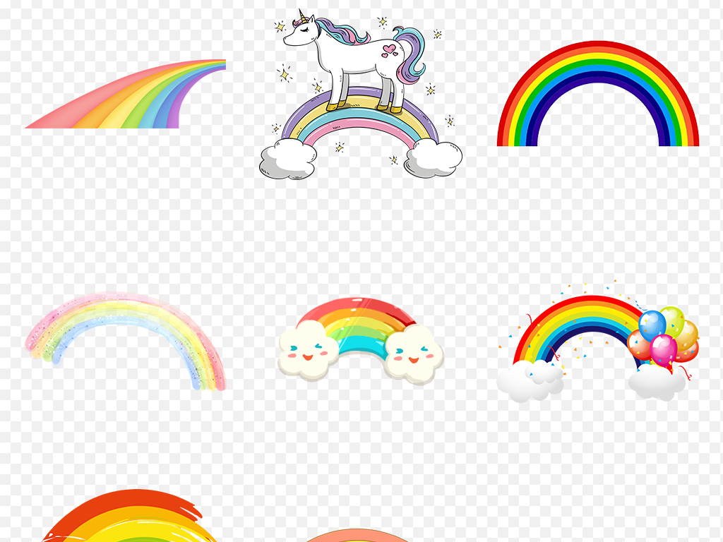 卡通手绘唯美彩虹水彩彩虹海报素材背景图片png