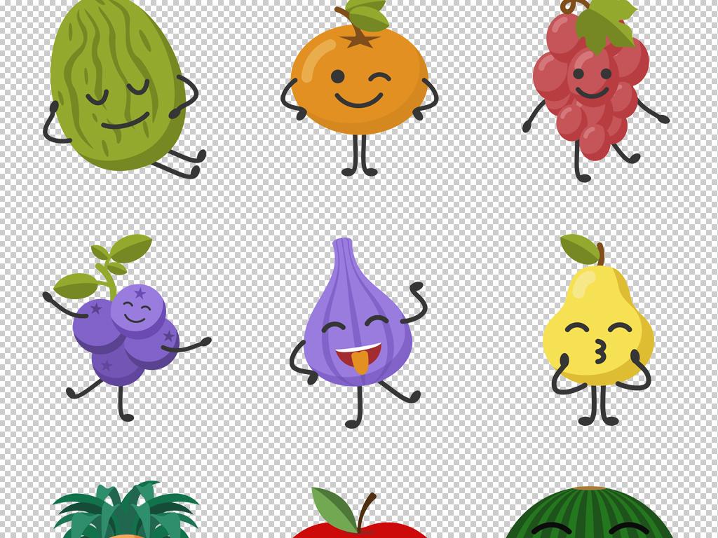 卡通可爱笑脸水果表情png免扣背景素材