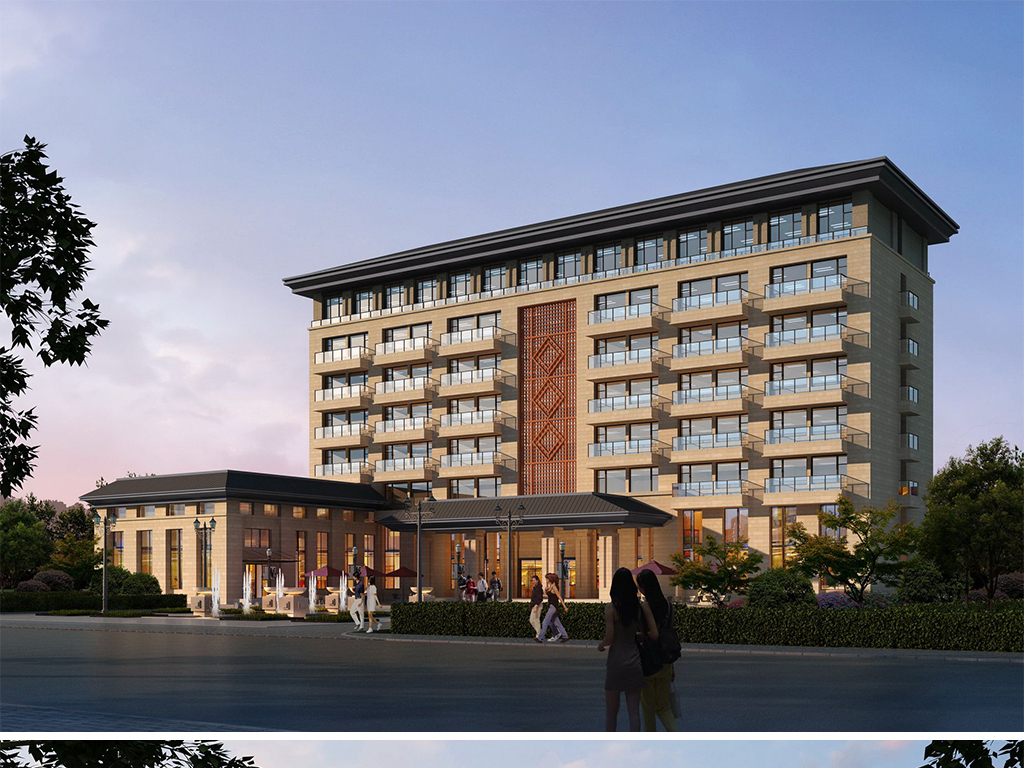 现代高层住宅小区酒店建筑设计方案中式会所建筑