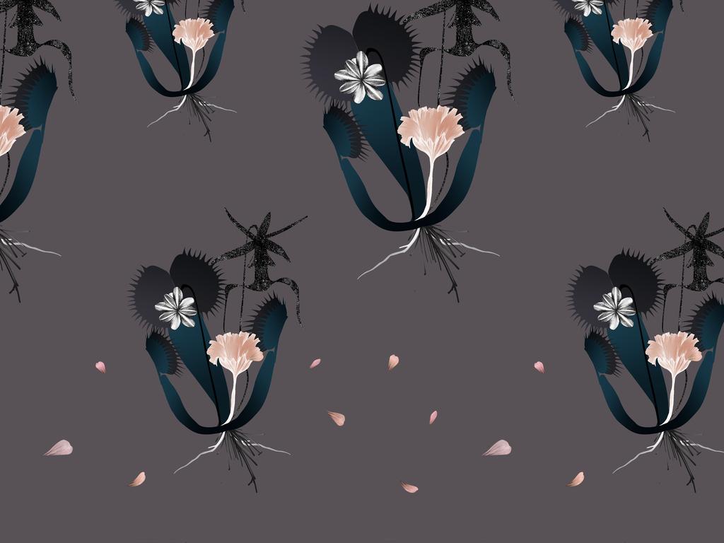 手绘昆虫植物花卉花型