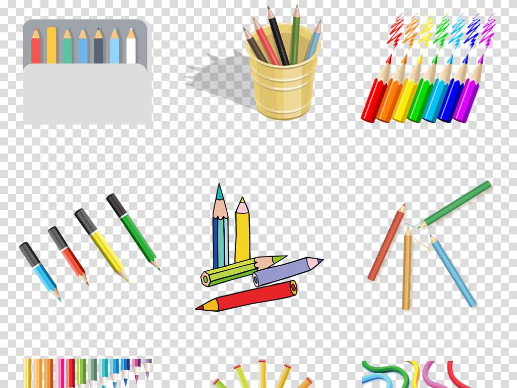 卡通手绘彩色彩铅儿童画画招生海报png免抠素材