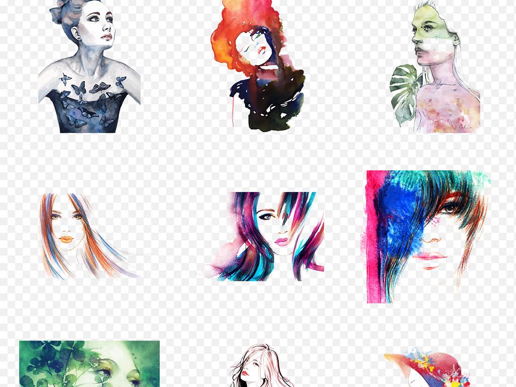 免抠元素 人物形象 美女 > 水彩手绘时尚女人剪影海报素材背景图片png