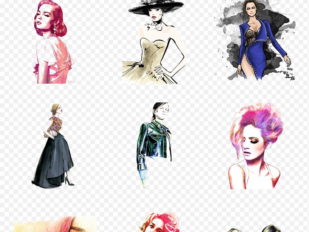 水彩手绘时尚女人剪影海报素材背景图片png