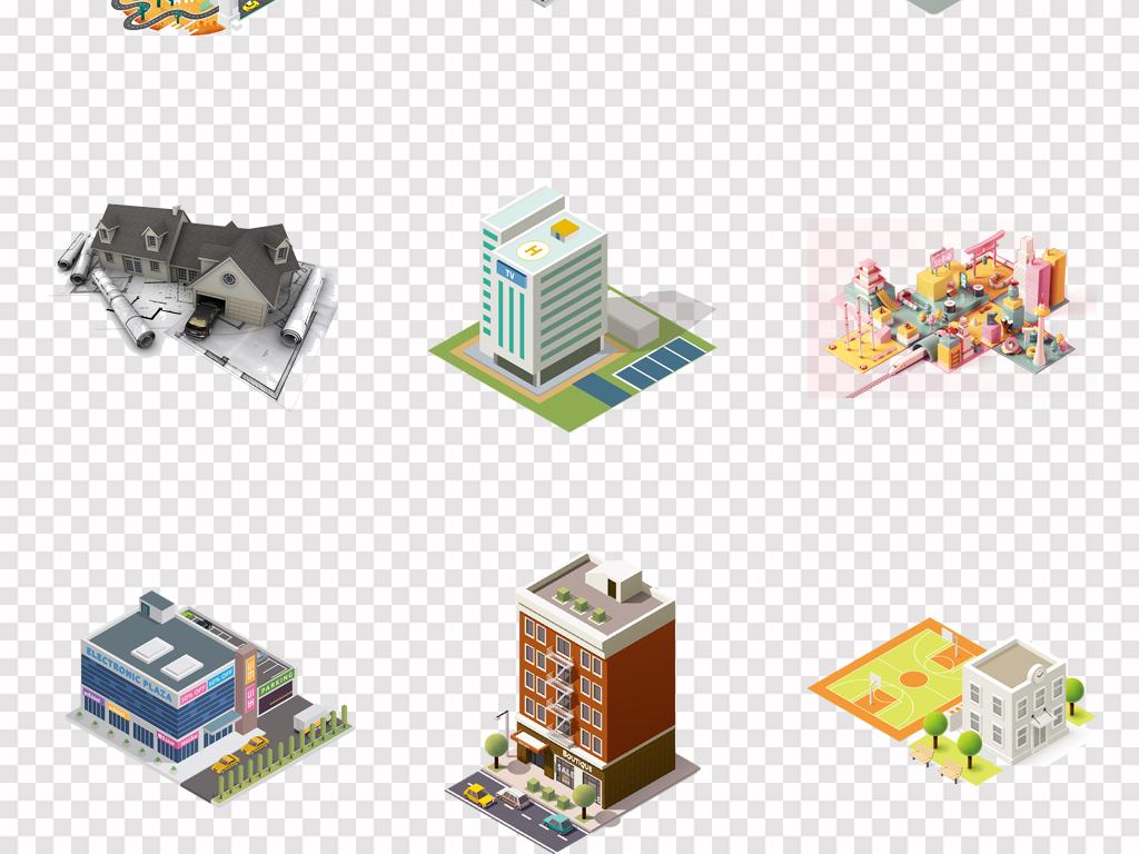 50款可爱手绘卡通建筑物3d立体景观房子png素材