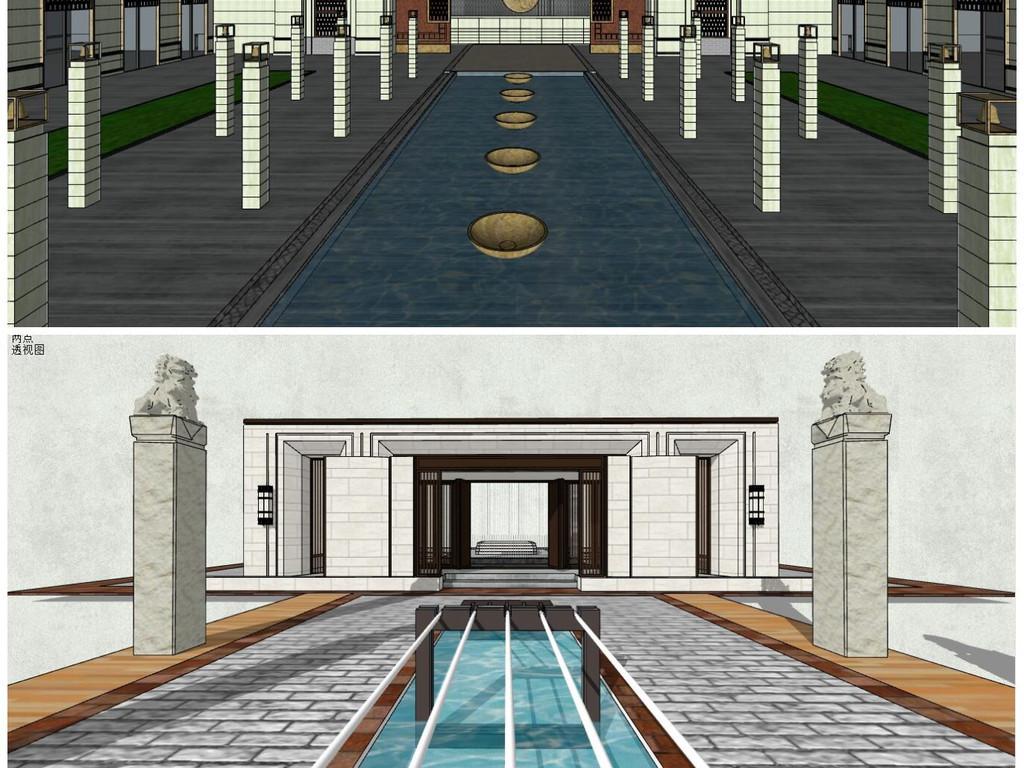 欧式新古典住宅小区入口大门新亚洲新中式入口大门围墙模型图片