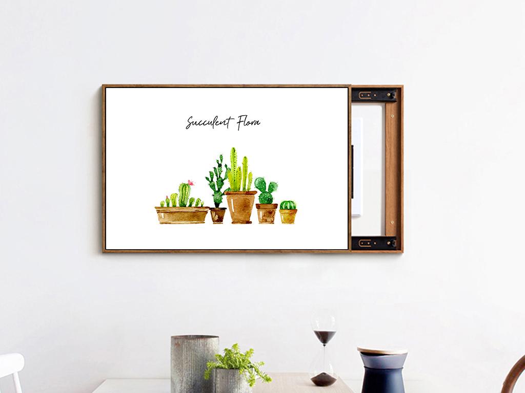 北欧ins手绘卡通仙人掌植物电表箱装饰画