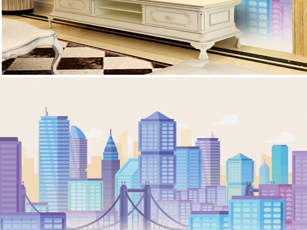 背景墙 电视背景墙 电视背景墙 > 手绘彩色城市写字楼  素材图片参数