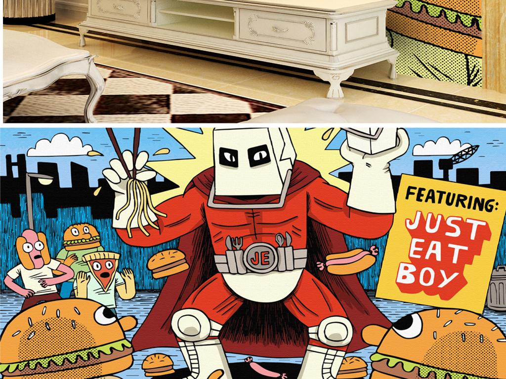 电视背景墙 > 手绘汉堡机器人披萨  素材图片参数: 格式 : jpg 颜色