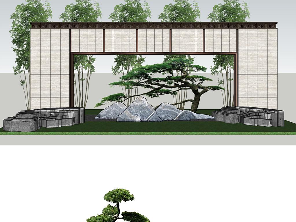 新中式公园小区会所别墅枯山水景观小品片石景墙禅意庭院小品