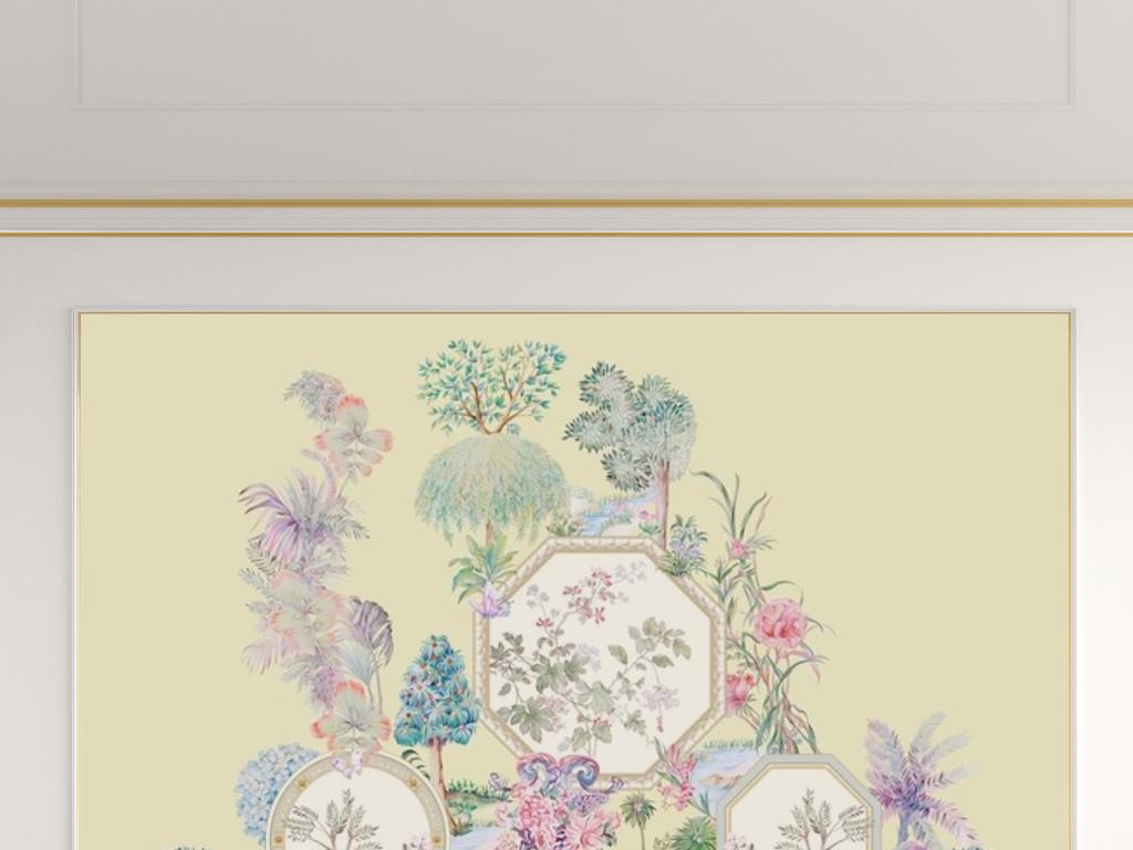 轻古典西洋画新中式手绘植物园花鸟背景