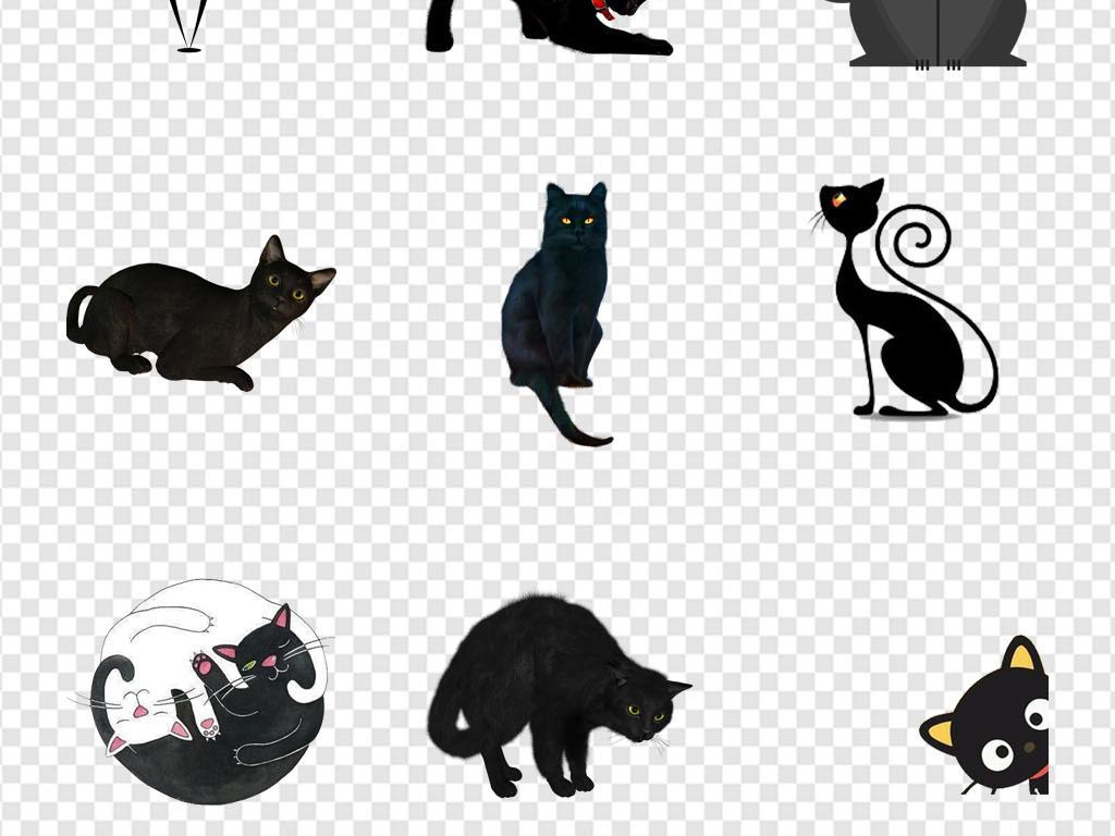 猫咪纹身手绘暗黑系猫咪黑猫海报png素材