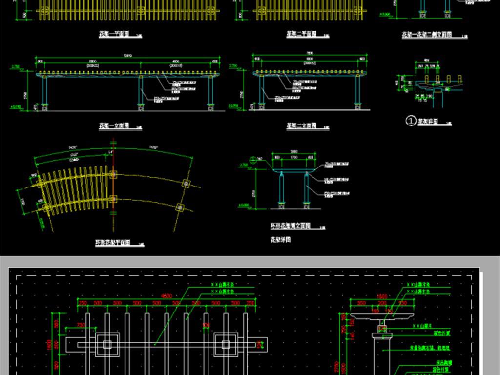 园林景观长廊花架cad图集平面设计图下载(图片77.52mb