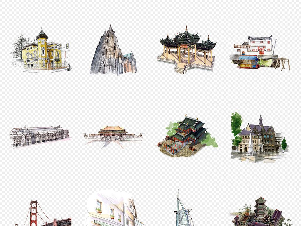 手绘世界著名建筑png免抠素材(01)图片_模板下载(42.