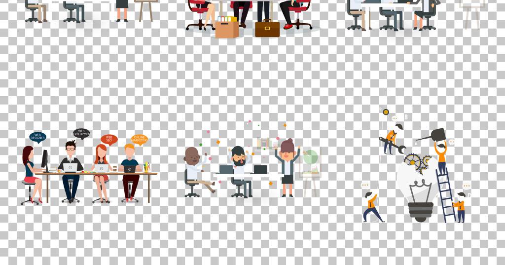 手绘卡通商务创意团队合作免抠png素材