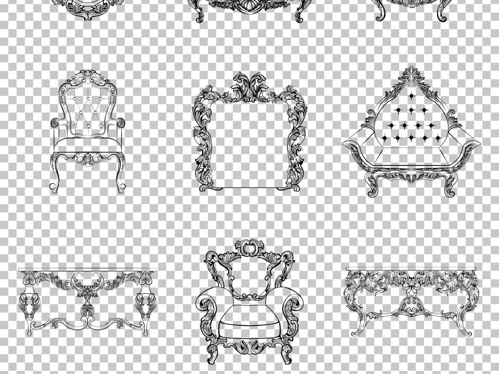 手绘线稿欧式家具创意桌椅免抠png素材