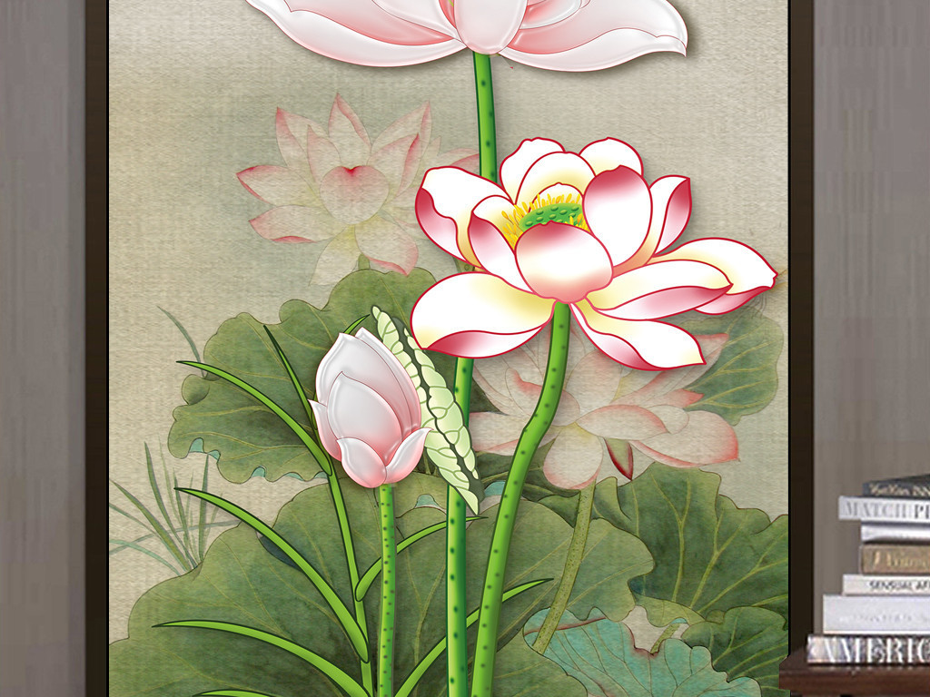 新中式手绘工笔荷花古典装饰画玄关背景墙