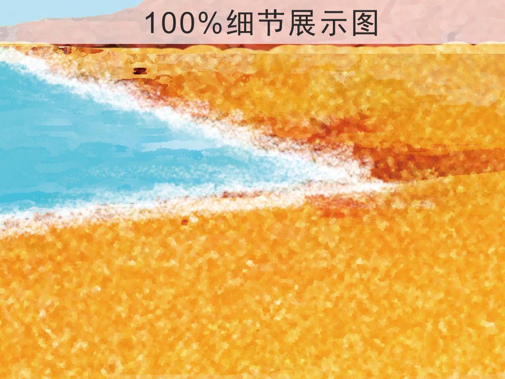 北欧抽象风景海滩艺术三联装饰画