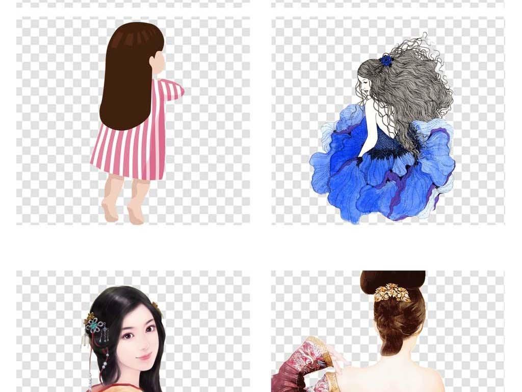 免抠元素 人物形象 美女 > png素材女孩背影少女侧身女人回头手绘  素