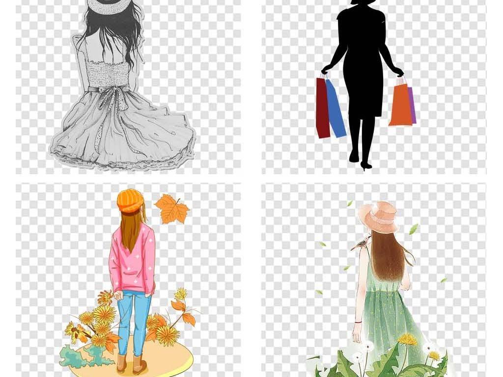 免抠元素 人物形象 美女 > png素材女孩背影少女侧身女人回头手绘