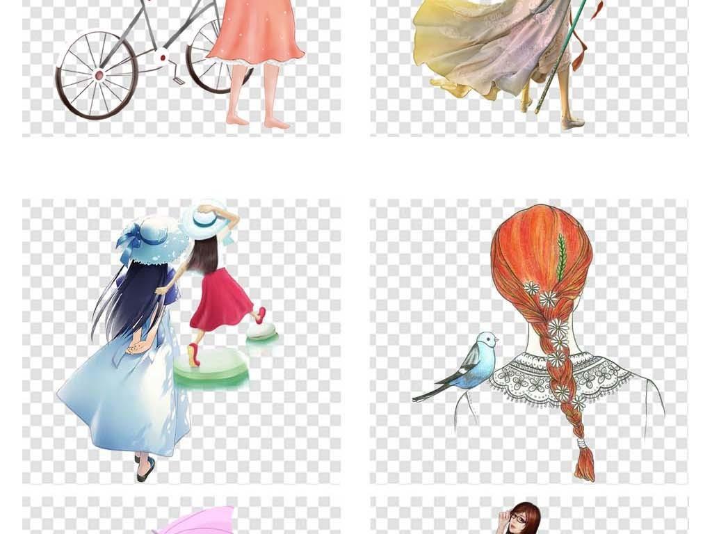 png素材女孩背影少女侧身女人回头手绘