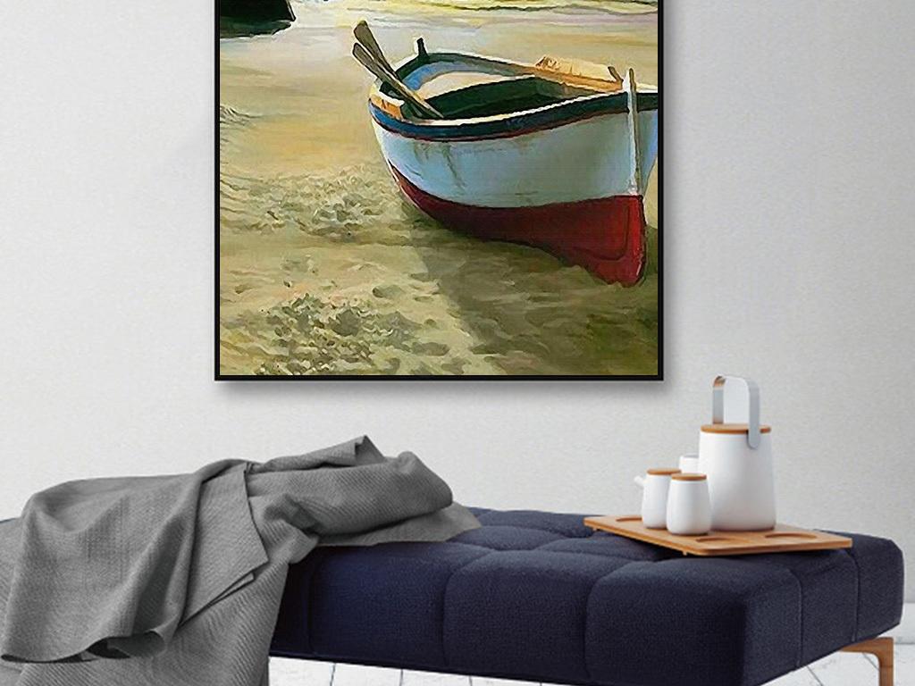 北欧简约抽象手绘唯美大海风景装饰画