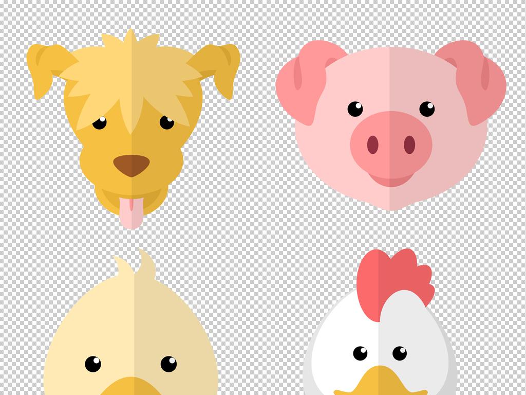 卡通可爱扁平化小动物头像png素材psd