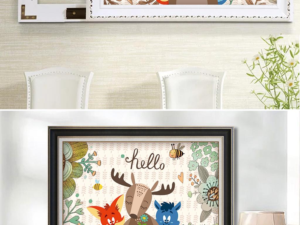 森系复古麋鹿叶子小动物电表箱装饰画