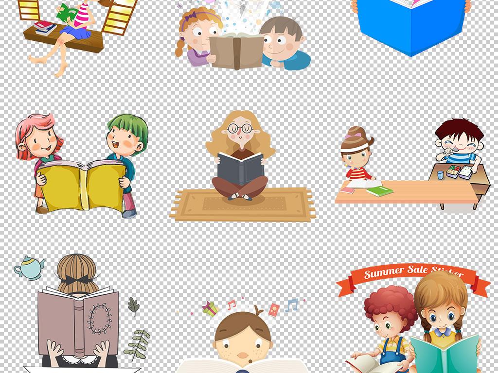 园卡通人物儿童看书教育学校上学