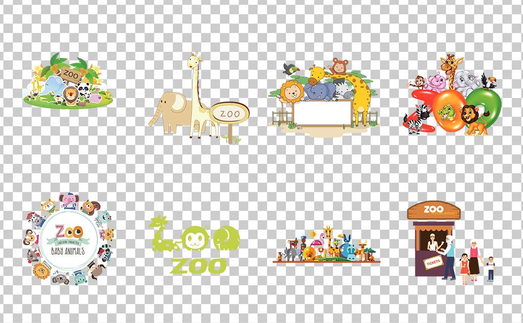 01257动物园游乐园卡通手绘可爱儿童乐园动物园素材免