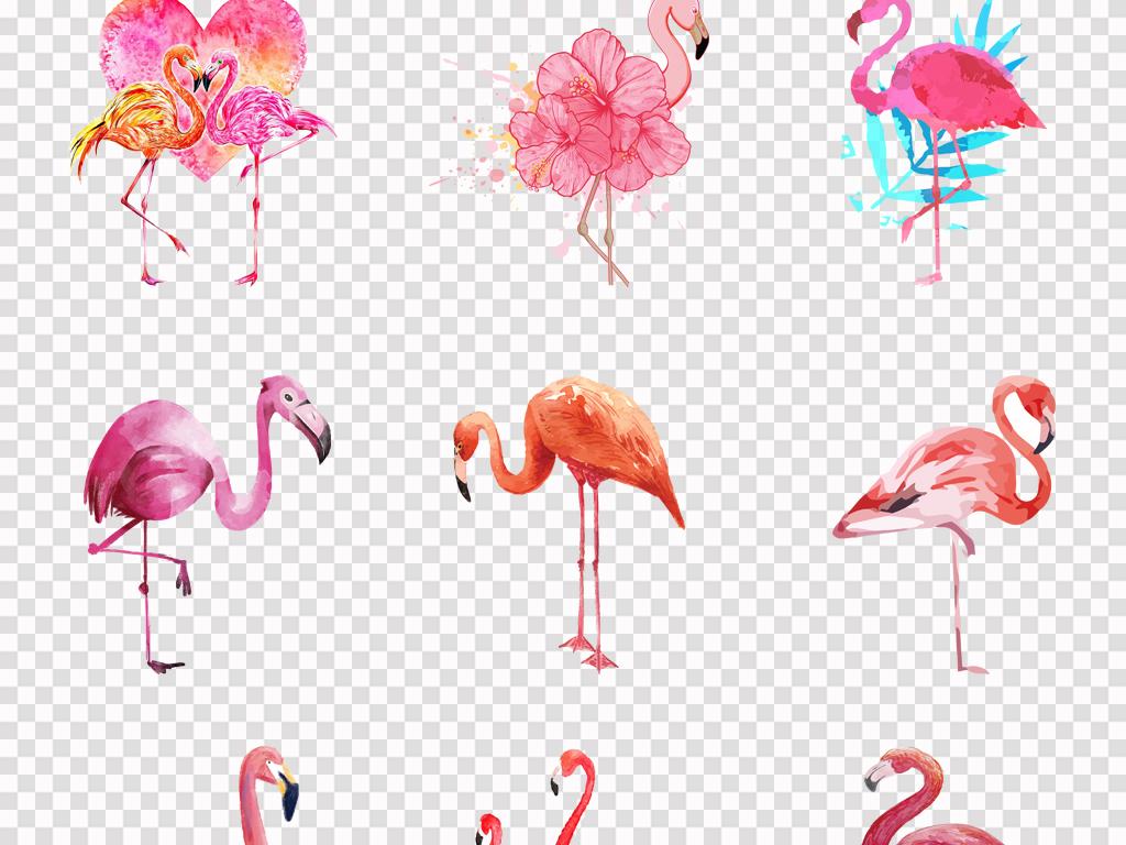 50款手绘可爱卡通火烈鸟水彩火烈鸟背景png素材