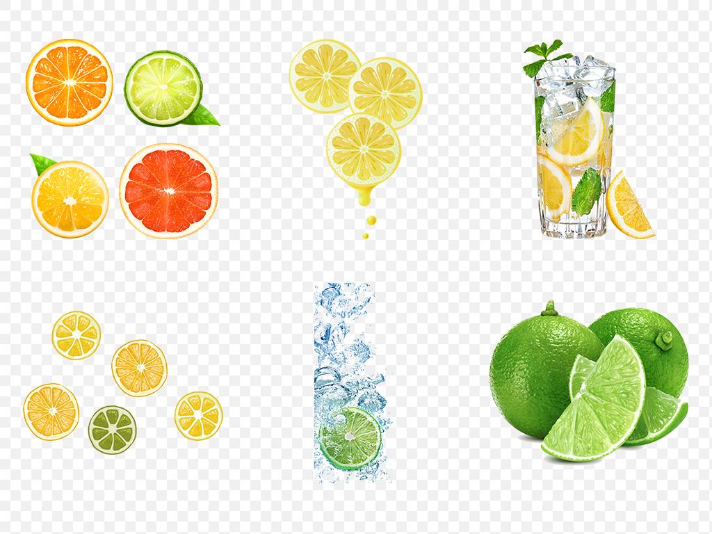 手绘卡通水果清新黄色柠檬海报素材背景图片png