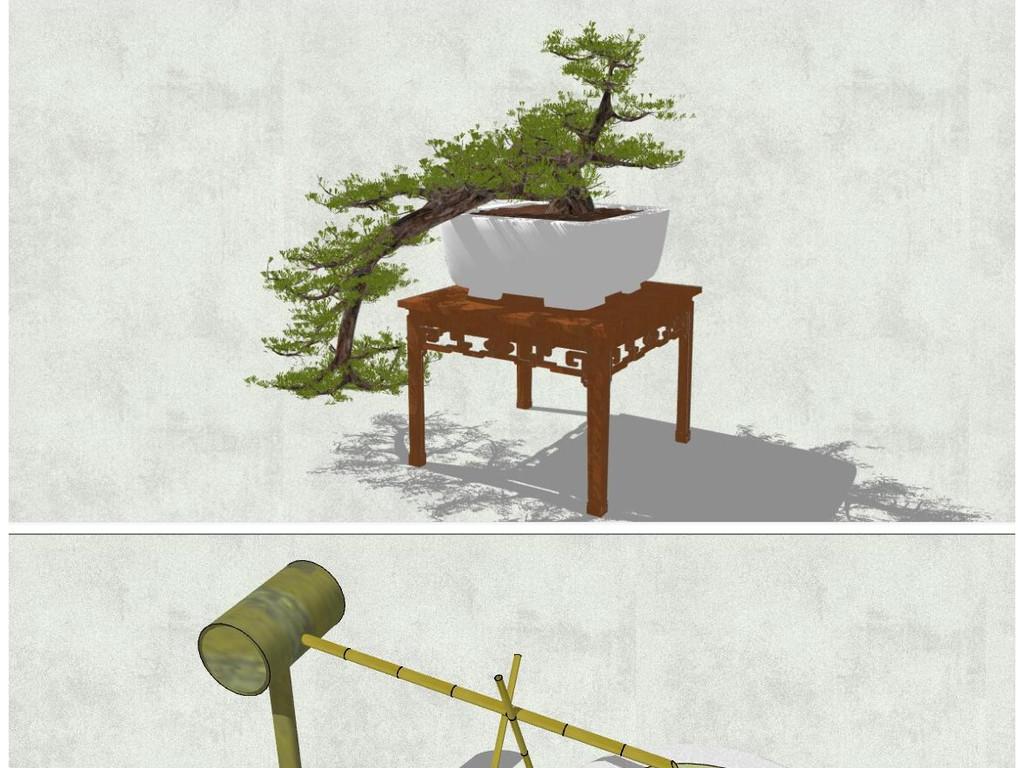 精品日式枯山水盆景日式观景小品草图大师su模型