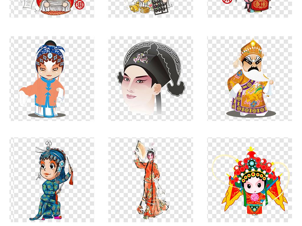 京剧戏剧脸谱卡通手绘人物海报png素材